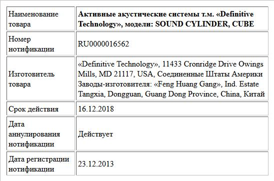 Активные акустические системы т.м. «Definitive Technology», модели: SOUND CYLINDER, CUBE