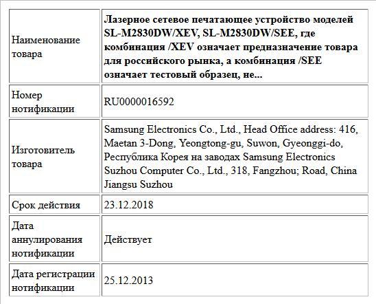 Лазерное сетевое печатающее устройство моделей SL-M2830DW/XEV, SL-M2830DW/SEE, где комбинация /XEV означает предназначение товара для российского рынка, а комбинация /SEE означает тестовый образец, не...