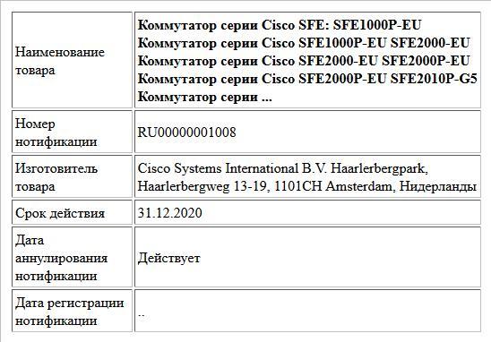 Коммутатор серии Cisco SFE: SFE1000P-EU Коммутатор серии Cisco SFE1000P-EU SFE2000-EU Коммутатор серии Cisco SFE2000-EU SFE2000P-EU Коммутатор серии Cisco SFE2000P-EU SFE2010P-G5 Коммутатор серии ...