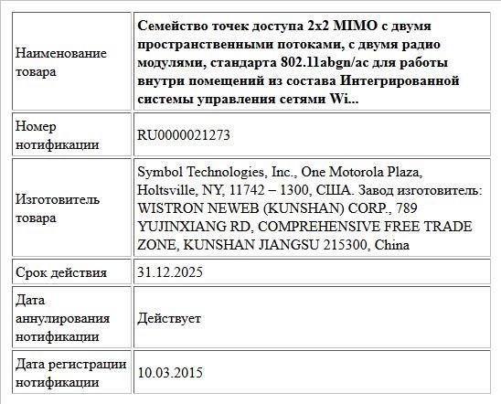 Семейство точек доступа 2х2 MIMO с двумя пространственными потоками, с двумя радио модулями, стандарта 802.11abgn/ac для работы внутри помещений из состава Интегрированной системы управления сетями Wi...