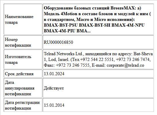 Оборудование базовых станций BreezeMAX:    а)  Модель 4Motion в составе блоков и модулей к ним ( в стандартном,  Macro и Micro исполнении):  BMAX-BST-PSU   BMAX-BST-SH  BMAX-4M-NPU   BMAX-4M-PIU   BMA...