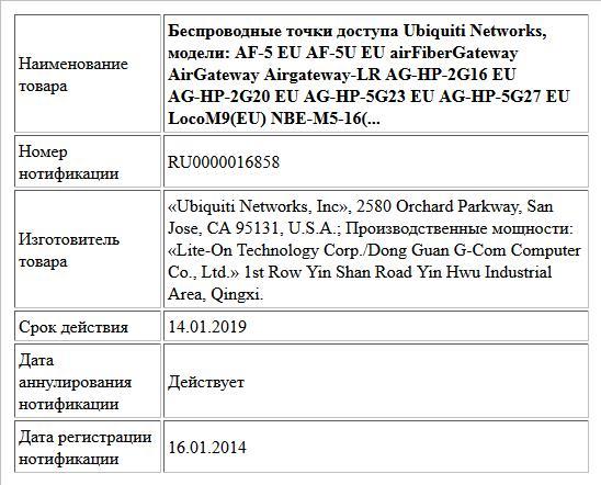 Беспроводные точки доступа Ubiquiti Networks, модели: AF-5 EU AF-5U EU airFiberGateway AirGateway Airgateway-LR AG-HP-2G16 EU AG-HP-2G20 EU AG-HP-5G23 EU AG-HP-5G27 EU LocoM9(EU) NBE-M5-16(...