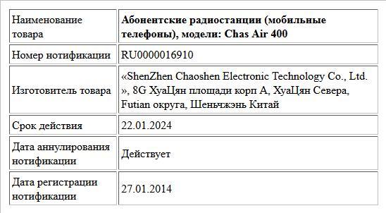 Абонентские радиостанции (мобильные телефоны), модели: Chas Air 400