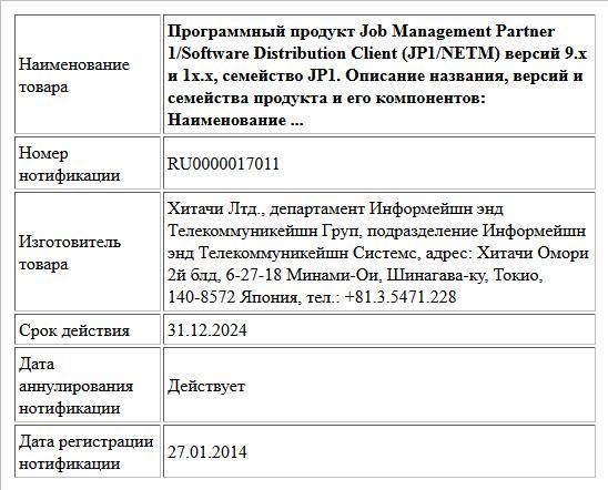 Программный продукт Job Management Partner 1/Software Distribution Client (JP1/NETM) версий 9.х и 1x.х, семейство JP1.  Описание названия, версий и семейства продукта и его компонентов:  Наименование ...