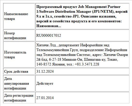 Программный продукт Job Management Partner 1/Software Distribution Manager (JP1/NETM), версий 9.х и 1x.х, семейство JP1.   Описание названия, версий и семейства продукта и его компонентов:  Наименован...