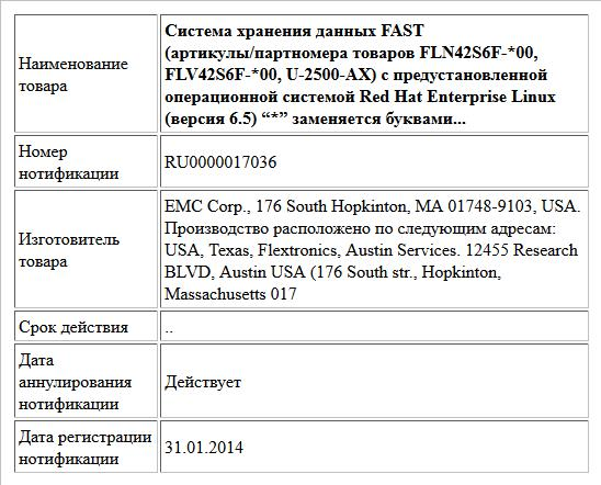 """Система хранения данных FAST (артикулы/партномера товаров FLN42S6F-*00, FLV42S6F-*00, U-2500-AX) с предустановленной операционной системой Red Hat Enterprise Linux (версия 6.5)  """"*"""" заменяется буквами..."""