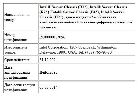 Intel® Server Chassis (R1*),  Intel® Server Chassis (R2*),  Intel® Server Chassis (P4*),  Intel® Server Chassis (H2*);  здесь индекс «*» обозначает комбинацию любых буквенно-цифровых символов латинско...