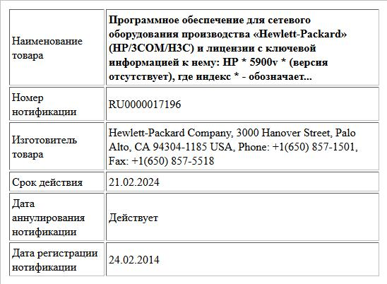 Программное обеспечение для сетевого оборудования производства «Hewlett-Packard» (HP/3СОМ/Н3С) и лицензии с ключевой информацией к нему:  НР * 5900v * (версия отсутствует),  где индекс * -  обозначает...