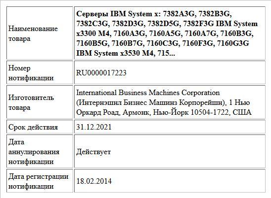 Серверы IBM System x: 7382A3G, 7382B3G, 7382C3G, 7382D3G, 7382D5G, 7382F3G IBM System x3300 M4, 7160A3G, 7160A5G, 7160A7G, 7160B3G, 7160B5G, 7160B7G, 7160C3G, 7160F3G, 7160G3G IBM System x3530 M4, 715...