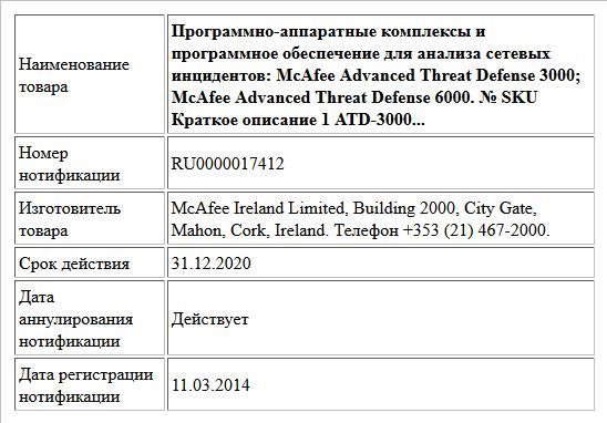 Программно-аппаратные комплексы и программное обеспечение для анализа сетевых инцидентов:  McAfee Advanced Threat Defense 3000; McAfee Advanced Threat Defense 6000.  № SKU Краткое описание  1 ATD-3000...