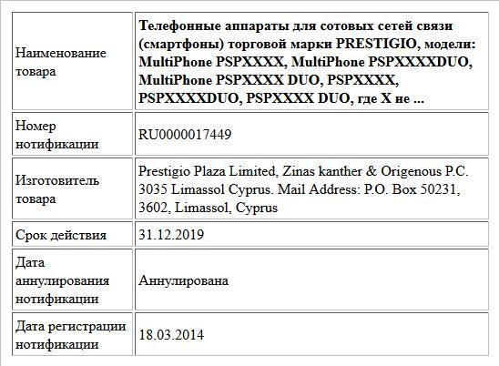 Телефонные аппараты для сотовых сетей связи (смартфоны) торговой марки PRESTIGIO, модели: MultiPhone PSPXXXX, MultiPhone PSPXXXXDUO, MultiPhone PSPXXXX DUO, PSPXXXX, PSPXXXXDUO, PSPXXXX DUO, где Х не ...