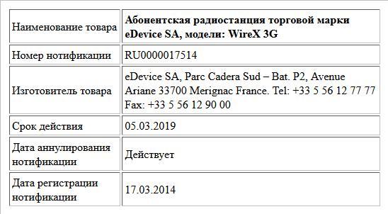 Абонентская радиостанция торговой марки eDevice SA, модели: WireX 3G