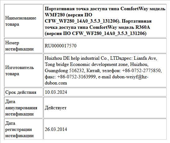 Портативная точка доступа типа ComfortWay модель WMF280 (версия ПО CFW_WF280_14A0_3.5.3_131206). Портативная точка доступа типа ComfortWay модель R360А (версия ПО CFW_WF280_14A0_3.5.3_131206)