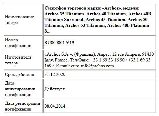 Смартфон торговой марки «Archos», модели: Archos 35 Titanium, Archos 40 Titanium, Archos 40B Titanium Surround, Archos 45 Titanium, Archos 50 Titanium, Archos 53 Titanium, Archos 40b Platinum S...