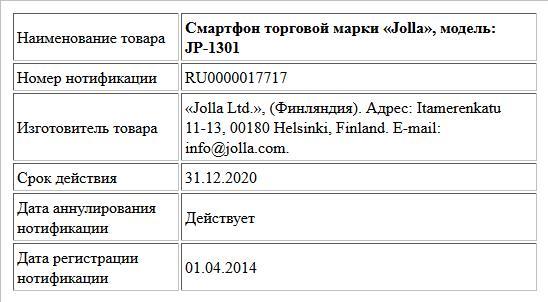 Смартфон торговой марки «Jolla», модель: JP-1301