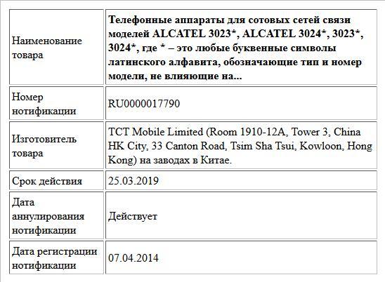 Телефонные аппараты для сотовых сетей связи моделей ALCATEL 3023*, ALCATEL 3024*, 3023*, 3024*, где * – это любые буквенные символы латинского алфавита, обозначающие тип и номер модели, не влияющие на...
