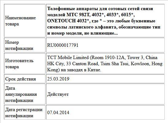Телефонные аппараты для сотовых сетей связи моделей MTC 982Т, 4032*, 4033*, 6015*, ONETOUCH 4032*, где * – это любые буквенные символы латинского алфавита, обозначающие тип и номер модели, не влияющие...