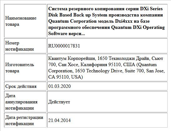 Система резервного копирования серии DXi Series Disk Based Back up System производства компании Quantum Corporation модель Dxi4xxx на базе программного обеспечения Quantum DXi Operating Software верси...