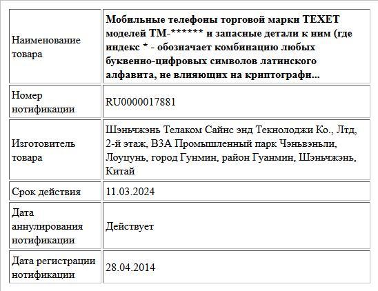 Мобильные телефоны торговой марки TEXET моделей TM-****** и запасные детали к ним (где индекс * - обозначает комбинацию любых буквенно-цифровых символов латинского алфавита, не влияющих на криптографи...