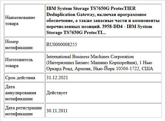 IBM System Storage TS7650G ProtecTIER Deduplication Gateway, включая программное обеспечение, а также запасные части и компоненты перечисленных позиций. 3958-DD4 - IBM System Storage TS7650G ProtecTI...