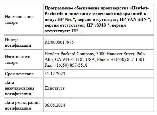 Программное обеспечение производства «Hewlett-Packard»  и лицензии с ключевой информацией к нему:  HP Net *, версия отсутствует;  HP VAN SDN *, версия отсутствует;  HP vSMS *, версия отсутствует;  HP ...