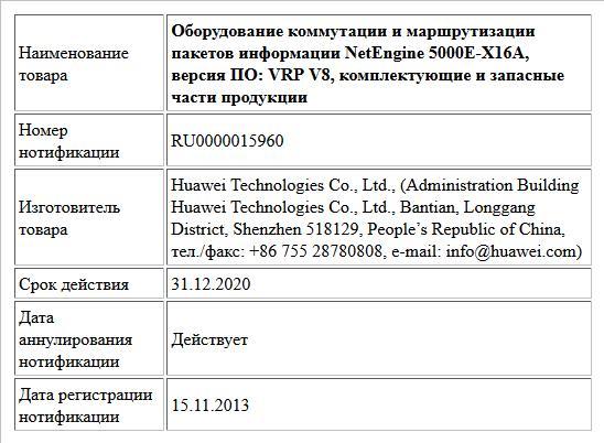 Оборудование коммутации и маршрутизации пакетов информации NetEngine 5000E-X16A, версия ПО: VRP V8, комплектующие и запасные части продукции