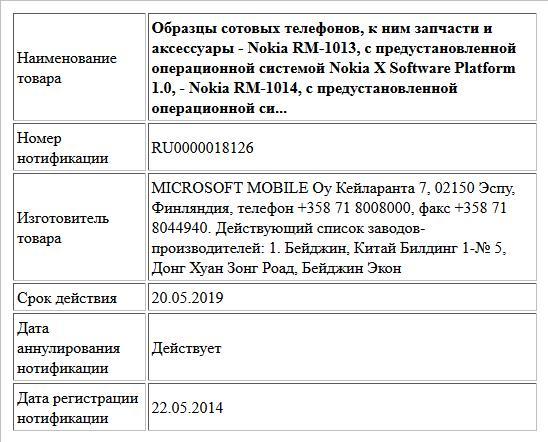 Образцы сотовых телефонов, к ним запчасти и аксессуары   - Nokia RM-1013, с предустановленной операционной системой Nokia X Software Platform 1.0,  - Nokia RM-1014, с предустановленной операционной си...