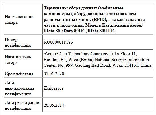 Терминалы сбора данных (мобильные компьютеры), оборудованные считывателем радиочастотных меток (RFID), а также запасные части к продукции:  Модель Каталожный номер  iData 80, iData 80HC, iData 80UHF  ...