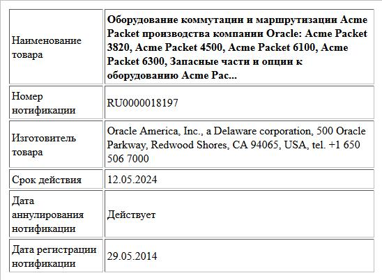 Оборудование коммутации и маршрутизации Acme Packet производства компании Oracle: Acme Packet 3820, Acme Packet 4500, Acme Packet 6100, Acme Packet 6300, Запасные части и опции к оборудованию Acme Pac...