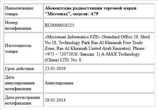 Абонентские радиостанции торговой марки ''Micromax'', модели: A79