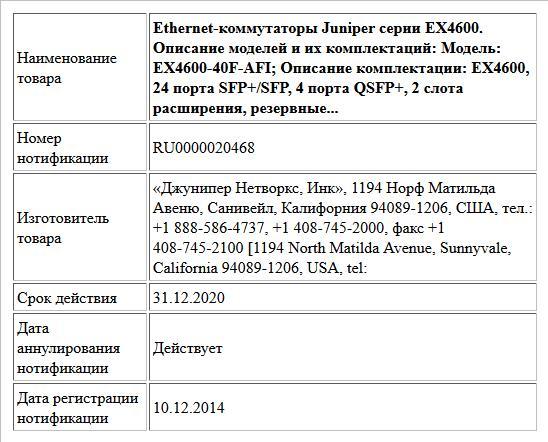 Ethernet-коммутаторы Juniper серии EX4600.  Описание моделей и их комплектаций: Модель: EX4600-40F-AFI; Описание комплектации: EX4600, 24 порта SFP+/SFP, 4 порта QSFP+, 2 слота расширения, резервные...