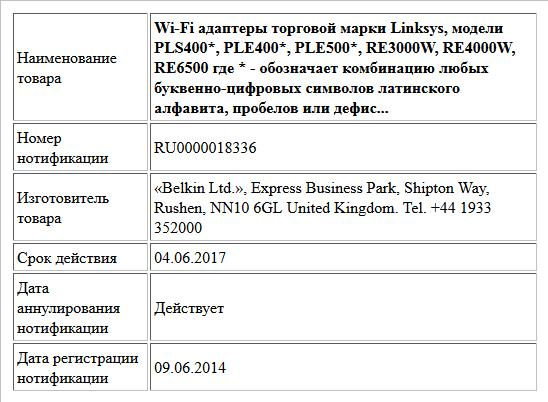 Wi-Fi адаптеры торговой марки Linksys, модели PLS400*, PLE400*, PLE500*, RE3000W, RE4000W, RE6500 где * - обозначает комбинацию любых буквенно-цифровых символов латинского алфавита, пробелов или дефис...