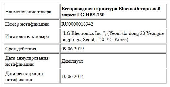 Беспроводная гарнитура Bluetooth торговой марки LG HBS-730