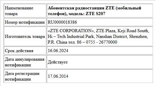 Абонентская радиостанция ZTE (мобильный телефон), модель: ZTE S207