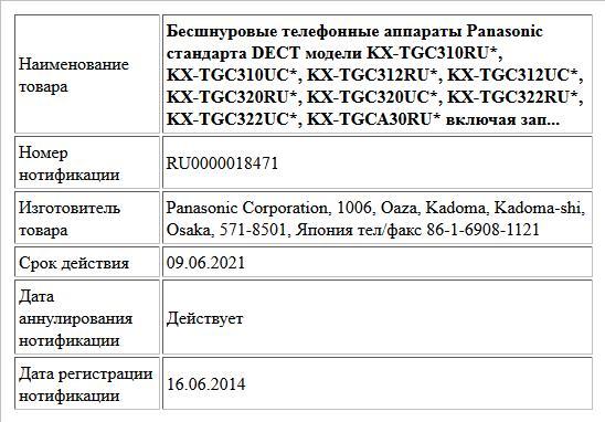 Бесшнуровые телефонные аппараты Panasonic стандарта DECT модели KX-TGС310RU*, KX-TGС310UC*, KX-TGС312RU*, KX-TGС312UC*, KX-TGС320RU*, KX-TGС320UC*, KX-TGС322RU*, KX-TGС322UC*, KX-TGСА30RU* включая зап...