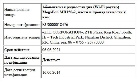 Абонентская радиостанция (Wi-Fi роутер) MegaFon MR150-2, части и пренадлежности к ним