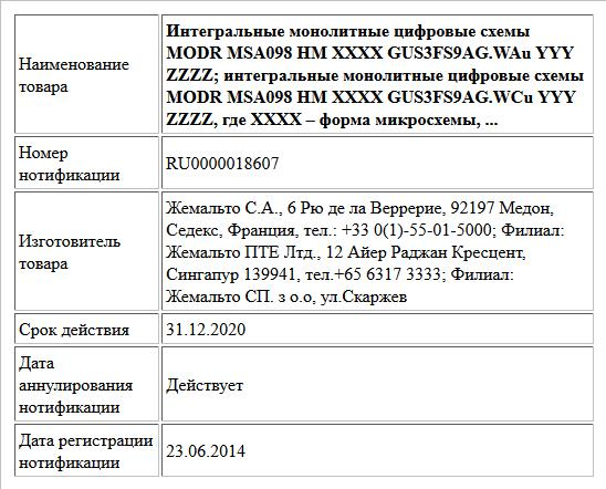 Интегральные монолитные цифровые схемы  MODR MSA098 HM XXXX GUS3FS9AG.WAu YYY ZZZZ; интегральные монолитные цифровые схемы  MODR MSA098 HM XXXX GUS3FS9AG.WCu YYY ZZZZ, где XXXX – форма микросхемы, ...