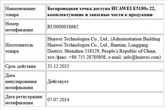 Беспроводная точка доступа HUAWEI E5180s-22, комплектующие и запасные части к продукции