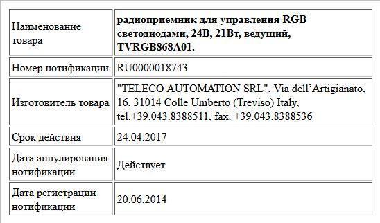 радиоприемник для управления RGB светодиодами, 24В, 21Вт, ведущий, TVRGB868A01.