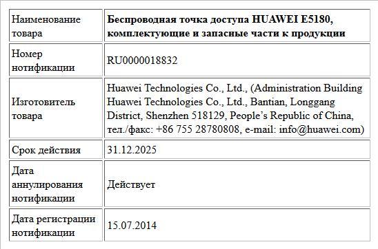 Беспроводная точка доступа HUAWEI E5180, комплектующие и запасные части к продукции