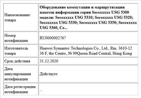 Оборудование коммутации и маршрутизации пакетов информации серии Secoxxxxx USG 5300 модели: Secoxxxxx USG 5310; Secoxxxxx USG 5320; Secoxxxxx USG 5330; Secoxxxxx USG 5350; Secoxxxxx USG 5360, Се...