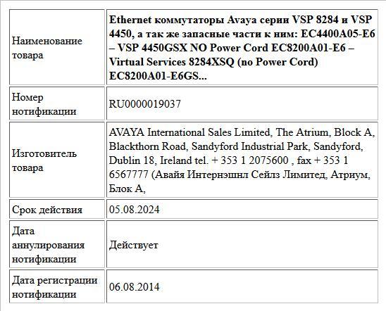 Ethernet коммутаторы Avaya серии VSP 8284 и VSP 4450, а так же запасные части к ним:  EC4400A05-E6 – VSP 4450GSX  NO Power Cord  EC8200A01-E6 – Virtual Services 8284XSQ (no Power Cord)  EC8200A01-E6GS...