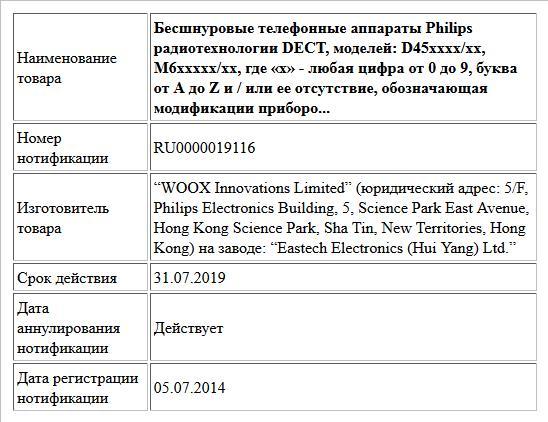 Бесшнуровые телефонные аппараты Philips радиотехнологии DECT, моделей: D45хххх/хх, M6xxxхх/xx, где «x» - любая цифра от 0 до 9, буква от A до Z и / или ее отсутствие, обозначающая модификации приборо...