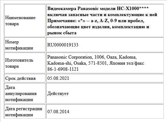 Видеокамера Panasonic модели  HC-X1000**** включая запасные части и комплектующие к ней Примечание: «*» -- a-z, A-Z, 0-9 или пробел, обозначающие цвет изделия, комплектацию  и рынок сбыта