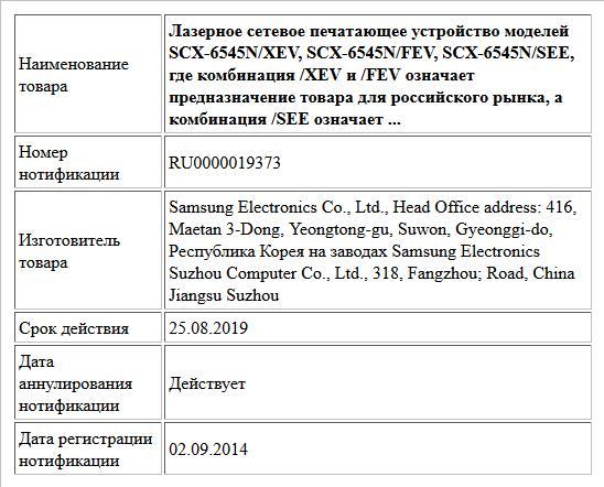 Лазерное сетевое печатающее устройство моделей SCX-6545N/XEV, SCX-6545N/FEV, SCX-6545N/SEE, где комбинация /XEV и /FEV означает предназначение товара для российского рынка, а комбинация /SEE означает ...