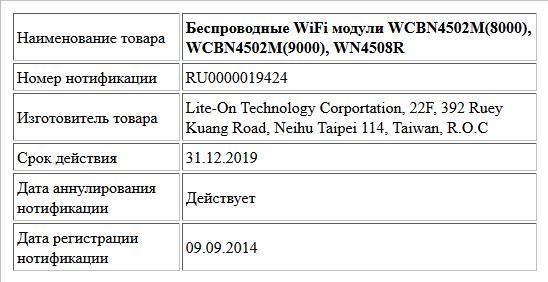 Беспроводные WiFi модули WCBN4502M(8000), WCBN4502M(9000), WN4508R
