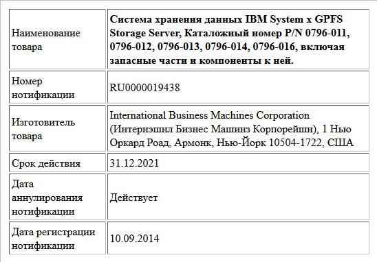 Система хранения данных IBM System x GPFS Storage Server, Каталожный номер P/N 0796-011, 0796-012, 0796-013, 0796-014, 0796-016, включая запасные части и компоненты к ней.