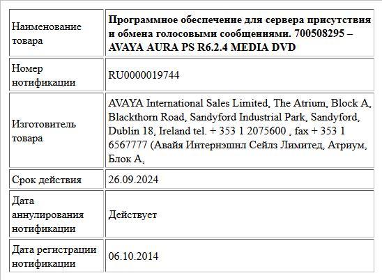 Программное обеспечение для сервера присутствия и обмена голосовыми сообщениями.  700508295 – AVAYA AURA PS R6.2.4 MEDIA DVD