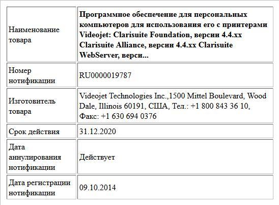 Программное обеспечение для персональных компьютеров для использования его с принтерами Videojet:  Clarisuite Foundation, версии 4.4.хх  Clarisuite Alliance, версии 4.4.хх  Clarisuite WebServer, верси...