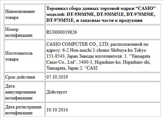 """Терминал сбора данных торговой марки """"CASIO"""" моделей: DT-930M50E, DT-930M51E, DT-970M50E, DT-970M51E, и запасные части к продукции"""